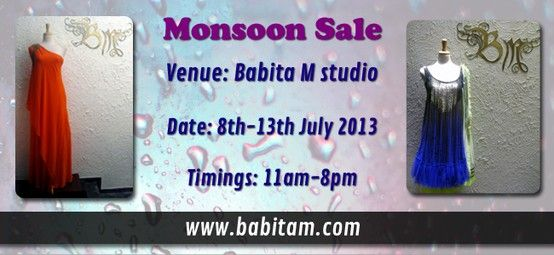 Great #discounts assured on #DesignerWear crafted by Babita Malkani. Mark your calendars for the #MonsoonSale.