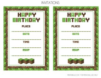 minecraft invitations | Minecraft Invitations (Emailed PDF) | Printabelle