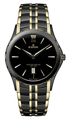 Women's Wrist Watches - Edox Womens 27035 357JN NID Grand Ocean Black and Gold PVD Stainless Steel Watch -- Read more reviews of the product by visiting the link on the image.
