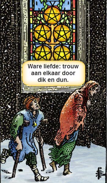 Tarotkaart pentakels vijf: ware liefde. Ter illustratie van het artikel over de tarot kennisquiz en hoe je gemakkelijk je tarotkaartenkennis uit kunt breiden.