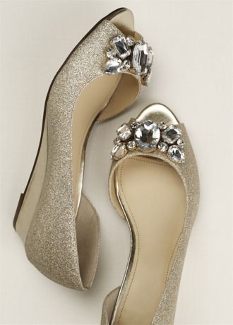 This Low Peep Toe Wedge Features A Crystal Cluster Embellishment That Will Sparkle The Whole Night Through Heel Height 1 Available In White Champagne