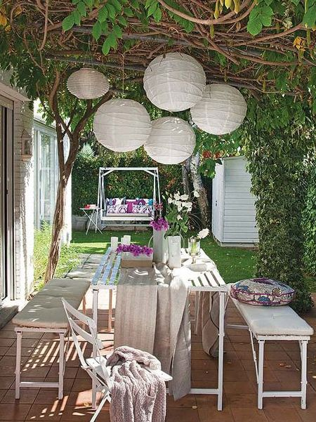 add outdoor lighting with LED fairy lights and chinese paper lanterns