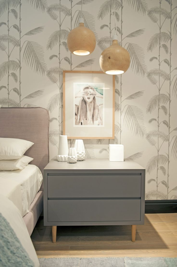 Michele Throssell Interiors > girls bedroom > pastels > Victoria Verbaan artwork Cole & Son Palm wallpaper