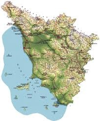 Questa è la cartine della Toscana. In questa regione si può trovare le Alpi Apuane, dove si può incontrare il Parco naturale regionale delle Alpi Apuane. Anche si può incontrare il Monte Pisano, le Montagna Pistoiese, i Monti del Chianti e le Colline Metallifere. Posiamo anche trovare l'arno che è l'ottavo fiume italiano e il suo bacino occupa un terzo della Regione. Altri fiume che percorrono la regione sono: Ombrone, Serchio, il cecina, l'ombrione e la Magra.