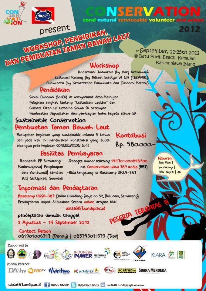 Workshop, Pendidikan, dan Pembuatan Taman Bwah Laut - UKSA 387 UNDIP - http://issuu.com/bellaatikah/docs/workshop_p1446472787.pdf