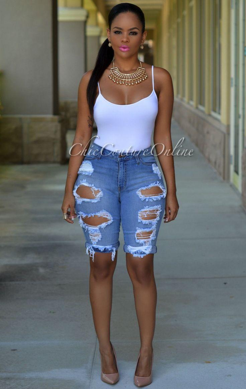 Destroyed Bermuda Jean Shorts - The Else