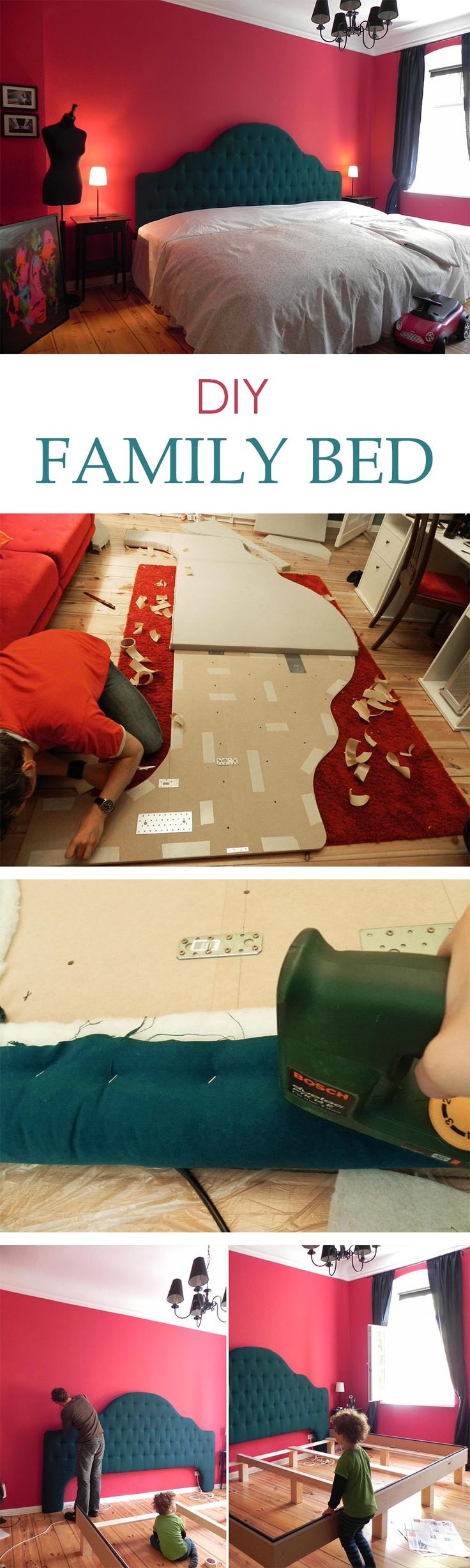 Building instructions for a HUGE family bed with a diamond tufted headboard (in German and English) #familybed #cosleeping #headboard #diy #large via artandalmonds.com