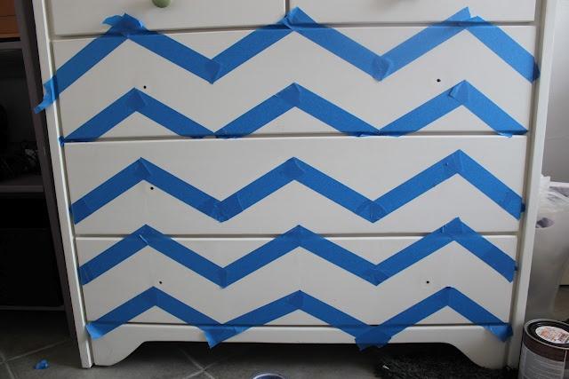 tutorial....Chevron Painted Dresser Makeover - Remodelaholic | Remodelaholic