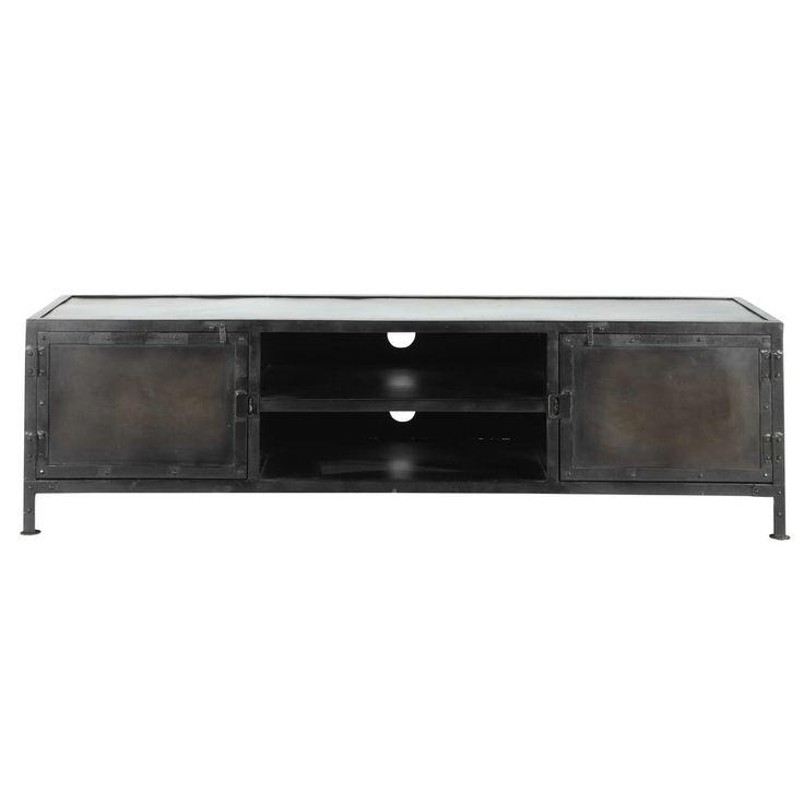 Meuble TV indus en métal noir L 150 cm