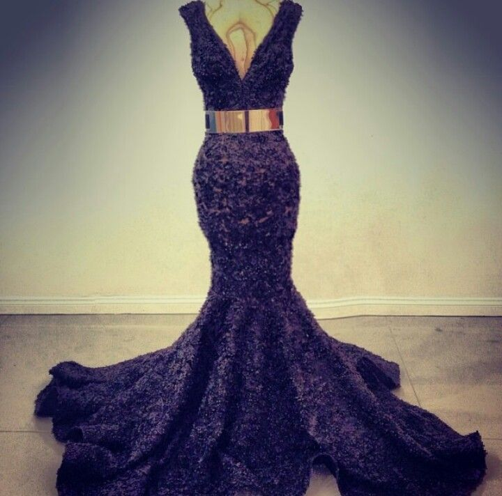 Michael Costello black lace gown