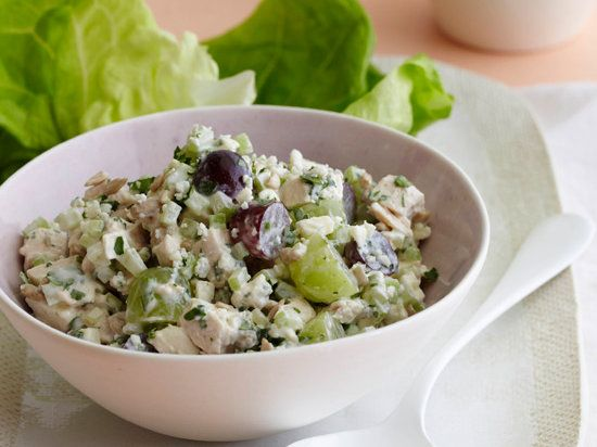 This delicious chicken salad recipe is a riff on classic Waldorf and Cobb salads. It mixes store-bought roasted chicken with blue cheese, grapes, and celery.