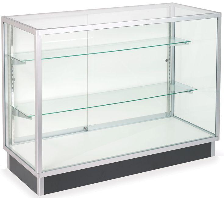 "48"" Retail Display Case w/Recessed Kickplate, Slider Door, Adjustable Shelves, Silver"