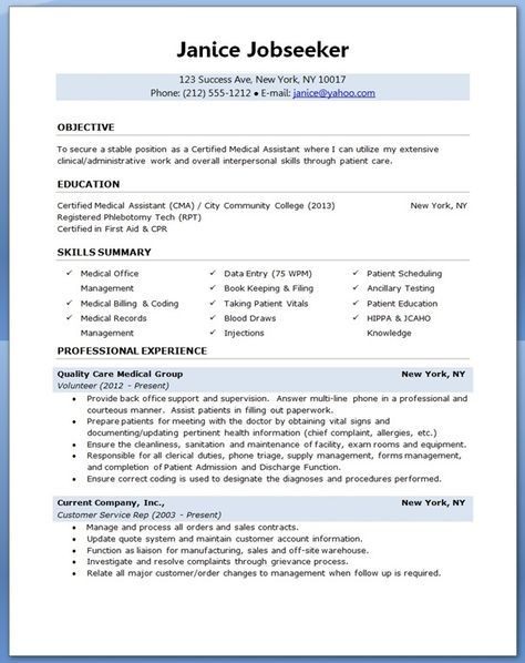 9 best Best Medical Assistant Resume Templates \ Samples images on - resume data entry