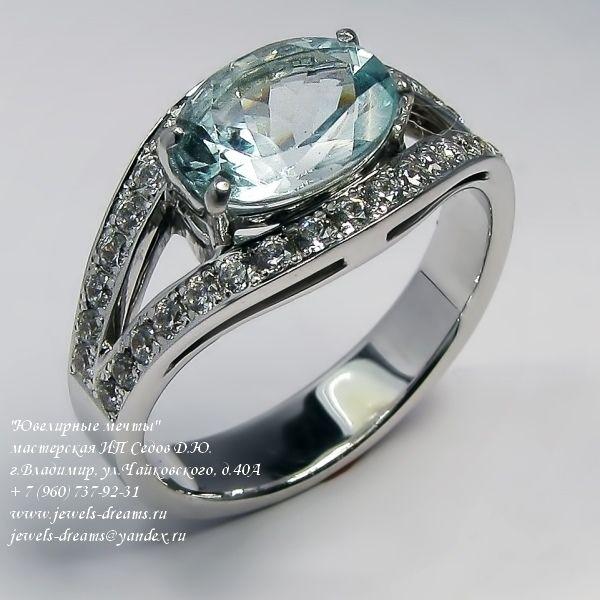 Женское золотое кольцо «Лемурийские аквамарины» с аквамарином и бриллиантами