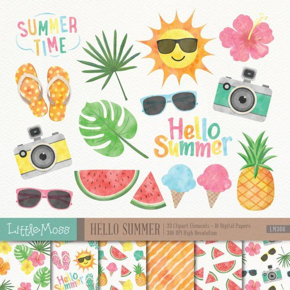 Summer tropical. Digital clipart and papers