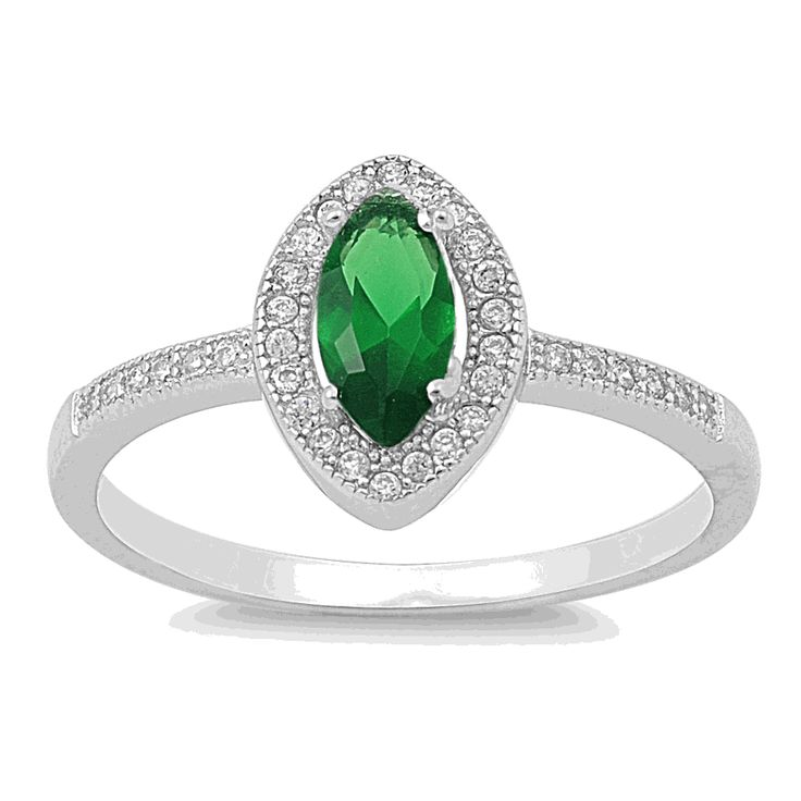 Sterling Silver Emerald CZ Marquise Halo Ring