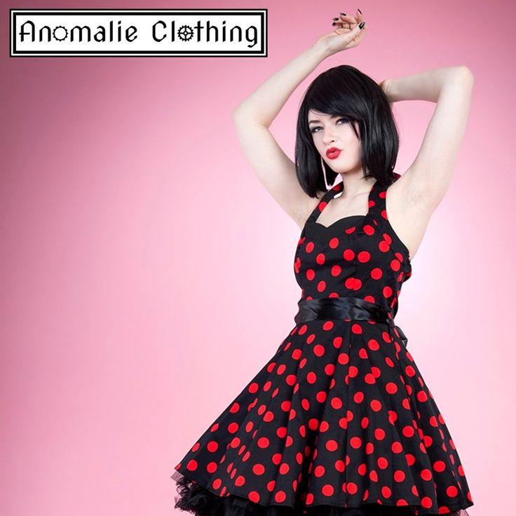 Red & Black Polka Dot Short Swing Dress