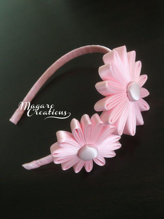 Diadema rosa flor la venda venda de la muchacha por MagaroCreations