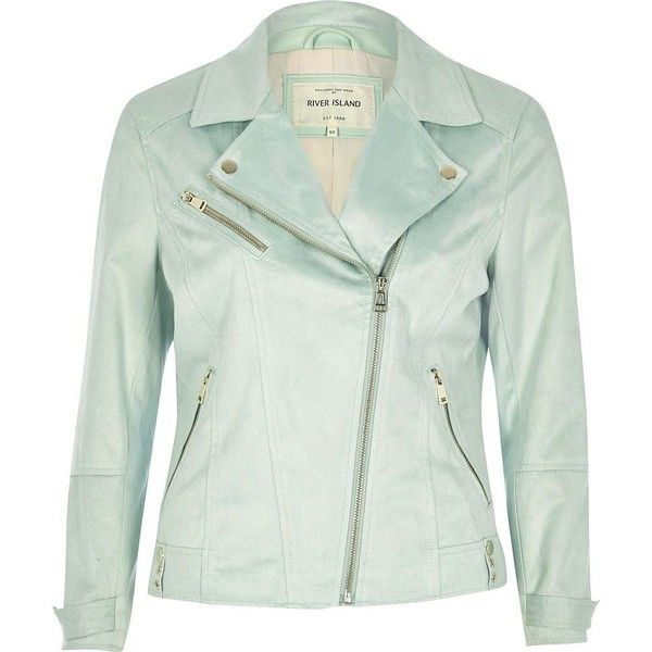 River Island Mint green faux suede biker jacket ($76) ❤ liked on Polyvore featuring outerwear, jackets, green, green motorcycle jacket, tall jackets, moto jacket, motorcycle jacket and mint jacket