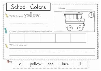 sentence scramble with cut and paste worksheets school colors pocket charts charts and cut. Black Bedroom Furniture Sets. Home Design Ideas