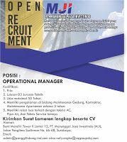 Lowongan Operational Manager di PT. Manunggal Jasa Investindo (MJI) - Penempatan Surabaya