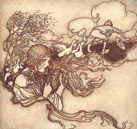 """Blow, blow, little breeze, And Conrad's hat seize.""    These illustrations came from:    Grimm, Jacob and Wilhelm. The Fairy Tales of the Brothers Grimm. Mrs. Edgar Lucas, translator. Arthur Rackham, illustrator. London: Constable & Company Ltd, 1909. Arthur Rackham is now in the public domain."