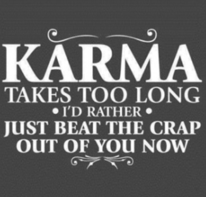 Karma takes too long, I'd rather just beat the crap out of you now! (: