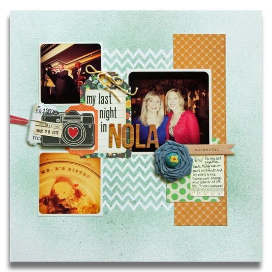 Embossed stenciled chevron technique on scrapbook page by Meghann Andrew