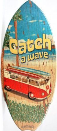 "Amazon.com: Wood Replica Mini Surfboard - VW Bus""Catch a Wave"": Home & Kitchen"