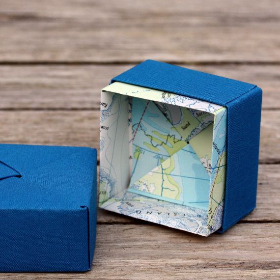 Small Trinket Box - Origami Map Lined - Deluxe Textile - Personalised International map or UK location