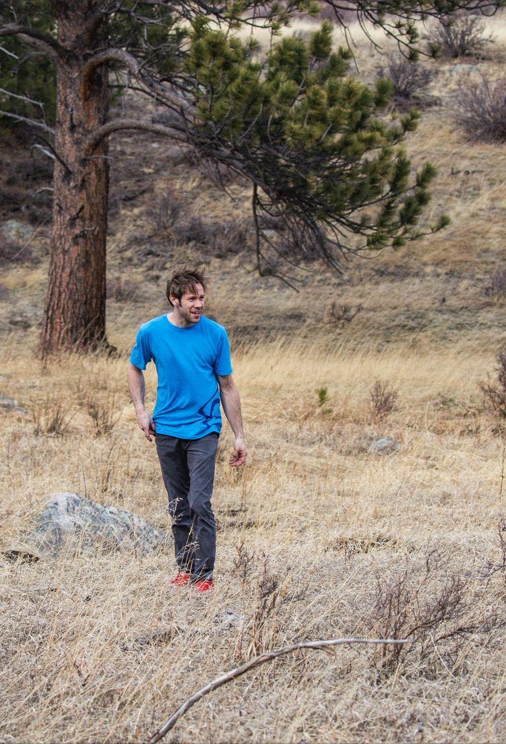 Asana ambassador Fernando Jimenez hanging out in Rocky Mountain National Park in our blue Logo T