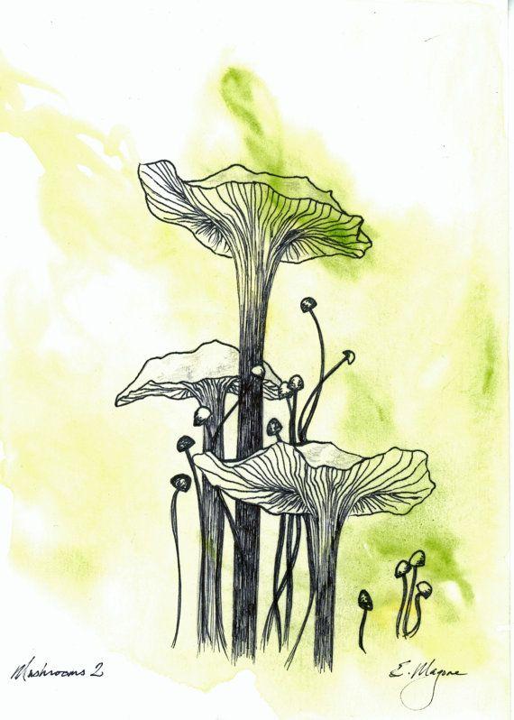 Original Watercolor Painting, Mushroom Line Drawing, Pen and Ink, 6x8