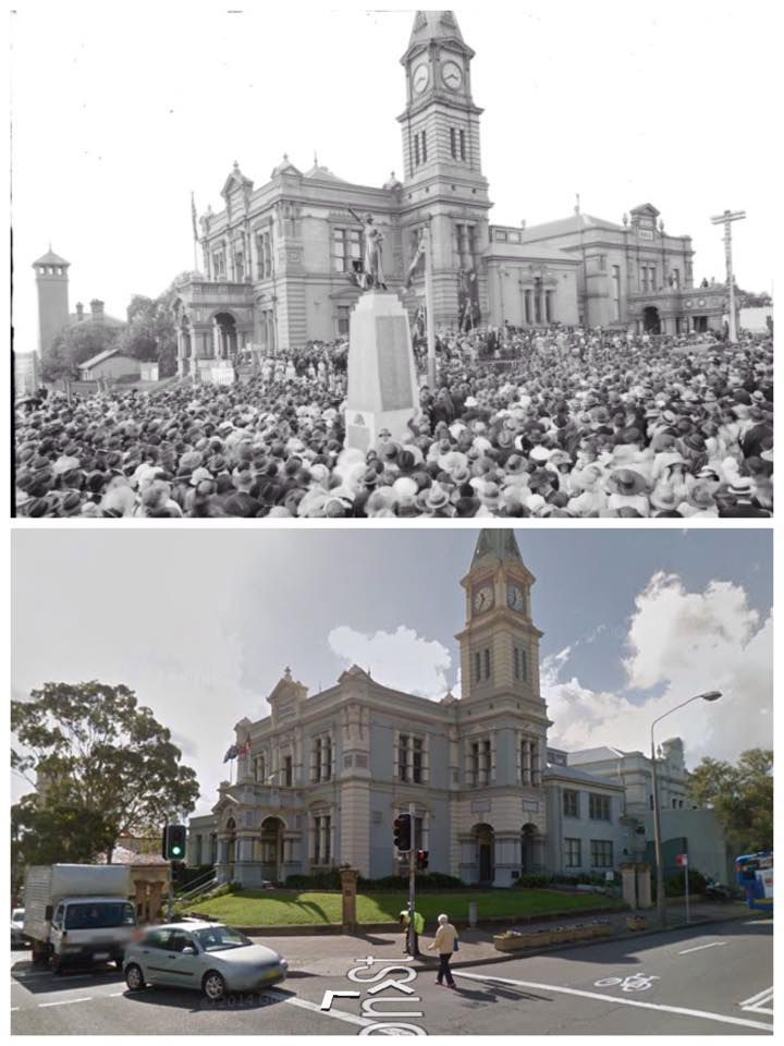 Leichhardt Town Hall 1922 > 2014 [State Library NSW, Google Street View. By Curt Flood]