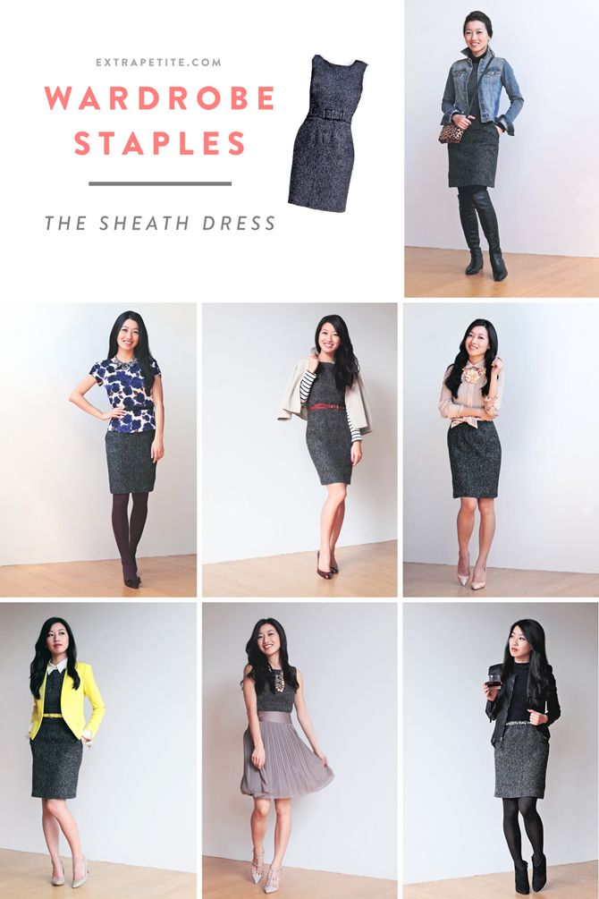 Styling a sheath dress, via Extra Petite. (Alas, less relevant now, since I'm a grad student.)