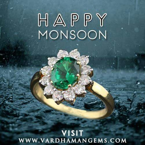 Traditional Diamond Cluster Ring with Green Color stone from  http://www.vardhamangems.com/