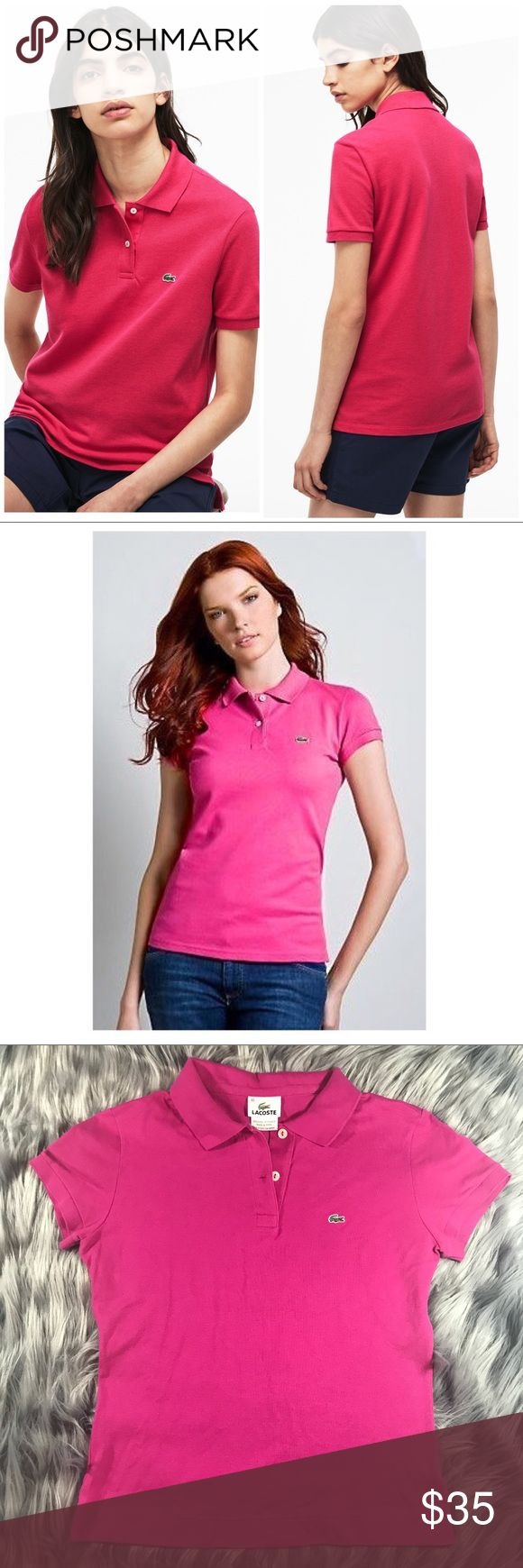 """Lacoste Womens Classic Polo Shirt sz 40 Medium Lacoste Womens Classic Polo Shirt in Hot Pink. Size 40 or Medium (please see last photo for Lacoste size chart) Lacoste womens classic style polos are a great look that never goes out of fashion!! Two-button placket ribbed polo collar and armbands vented hem signature pique fabric has long-term color fastness increased stability to minimize shrinkage and abrasion resistance Signature Croc applique accents chest Measurements: Bust 17"""" Overall…"""
