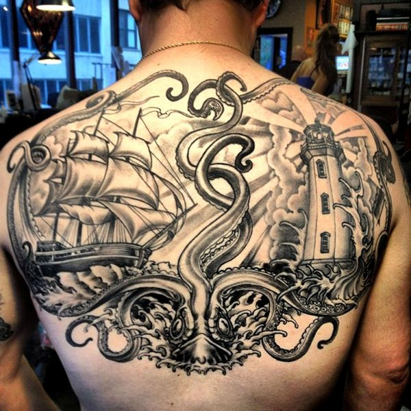 The Kraken tattoo - Another example of a mythical themed tattoos. #TattooModels #tattoo