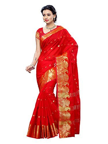 Mimosa Women Kanchipuram Cotton Art Saree With Plain Blouse (Red ,3140-7024-AB-RED) Check more at http://www.indian-shopping.in/product/mimosa-women-kanchipuram-cotton-art-saree-with-plain-blouse-red-3140-7024-ab-red/