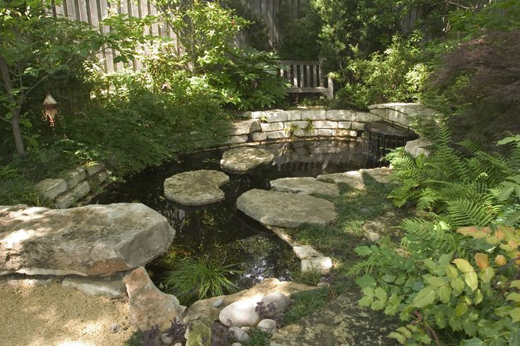 Best 184 water in the garden streams ponds fountains for Pond stones landscaping