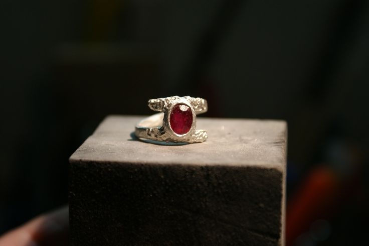 metal clay silver with ruby