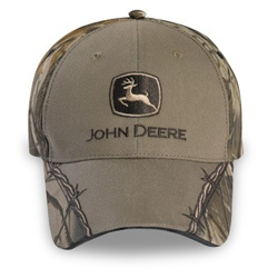 John Deere Taupe and Camo Barbed Wire Cap