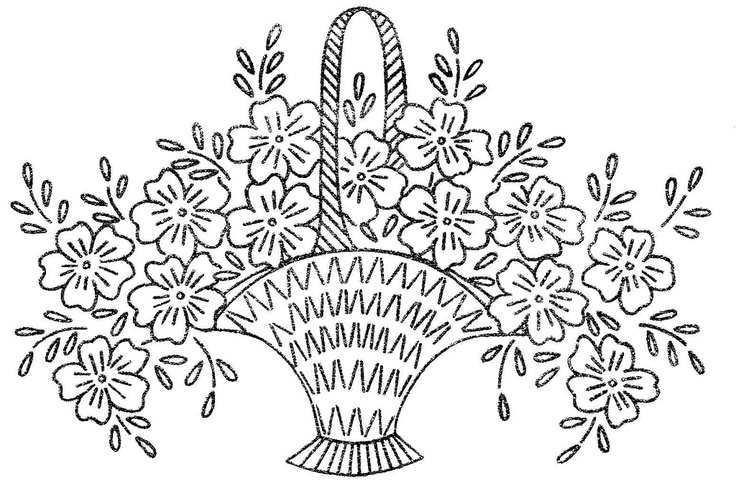 Floral Basket Embroidery or Redwork