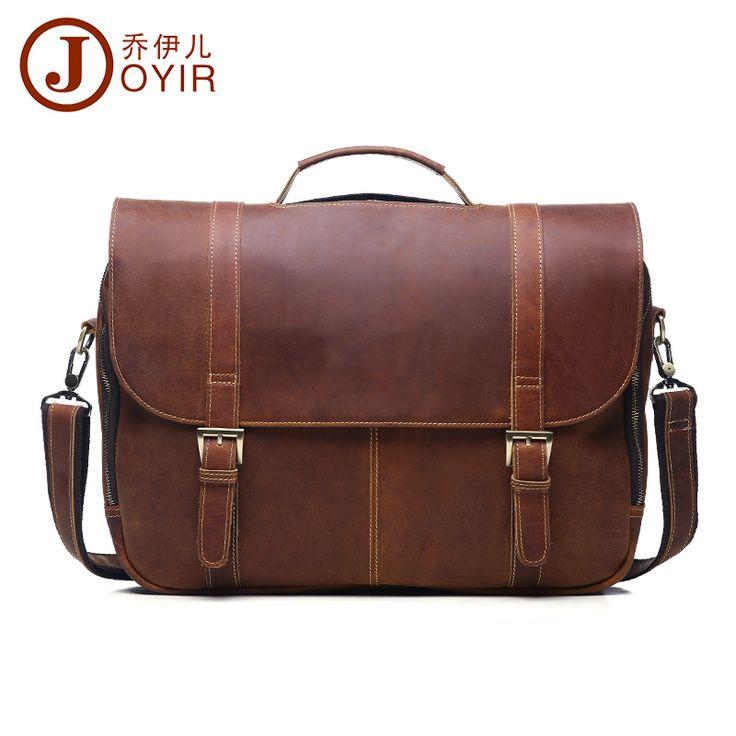 JOYIR Men Genuine Leather Shoulder Bags Laptop Briefcase Messenger Crossbody Pouch Travel Bag for Man new year gift Bao Bao