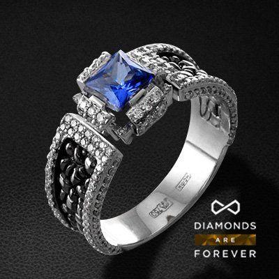 Мужское кольцо с сапфиром, бриллиантами из белого золота 750 пробы (арт. 37408)