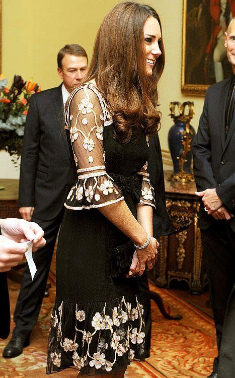 Kate Middleton in an Alice Temperley dress. October, 2012.