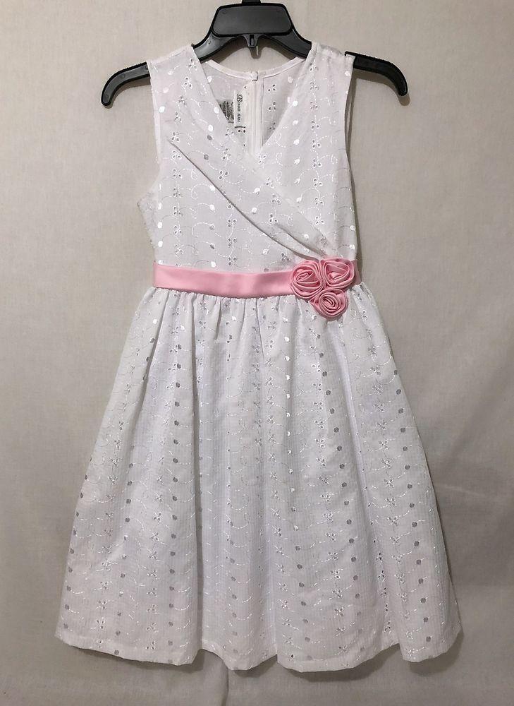 3ae0202eb01 Girls size 14 bonnie Jean white eyelet lace dress pink sash floral  embroiderey  BonnieJean  BridesmaidDressyHolidayPartyWeddingChurchEaster
