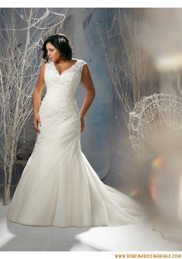Robe de mariée sirène organza dentelle grande taille