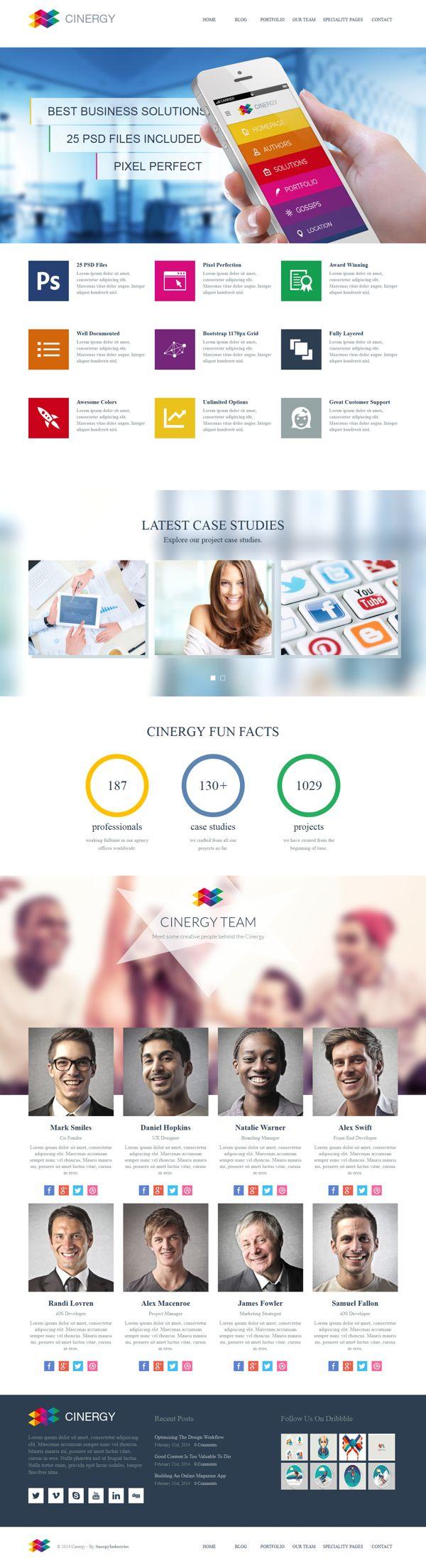 Cinergy - Modern Business Wordpress Theme by mona lisa, via Behance