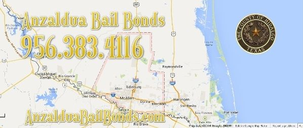 Anzaldua Bail Bonds Hidalgo County offers free bail bond consultations. No obligation just walk right in and ask to speak to one of our licensed bail bondsman. We provide bail bonds to Edinburg, Weslaco, McAllen, Mission, Pharr, Progreso, Donna, Edcouch, Elsa, La Homa, La Joya, La Villa, San Juan, Mercedes and all other cities in Hidalgo County.
