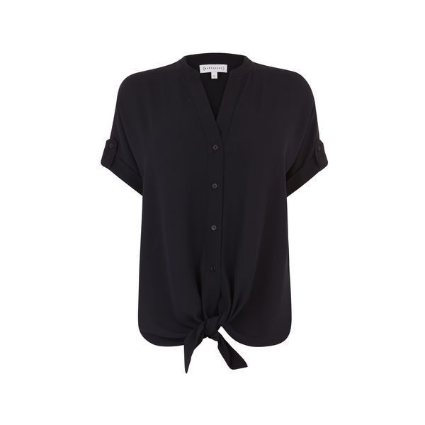 Warehouse Warehouse Tie Front Short Sleeve Blouse Size 16 (885 ARS) ❤ liked on Polyvore featuring tops, blouses, navy, short sleeve tops, navy blue top, button front blouse, tie front blouse and tie sleeve top